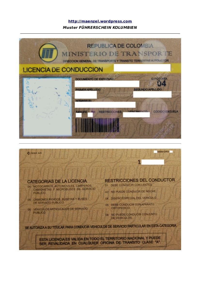 Führerschein Kolumbien Original
